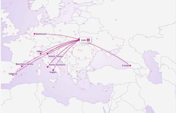 Wizz Air карта из Львова