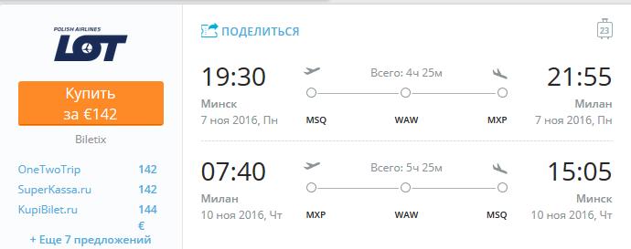 Минск-Милан