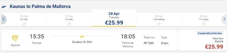 В одну сторону: из Литвы на Майорку всего за 26€
