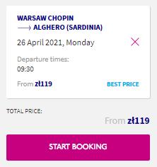 Сардиния из Варшавы за 26€ в одну сторону (2021 год)